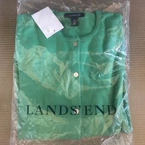 Land's End Classic Cardigan in Dew Green NEW Sz L